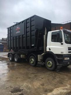 delivery truck for scrap metal skips in widnes